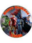 "7.5"" Superheroes Personalised Edible Icing or Wafer Paper Cake Top Topper Hulk Spiderman Iron Man Superman"